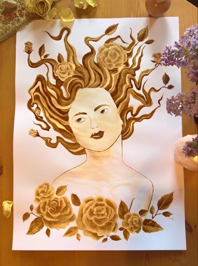Kaffee Malerei Kunst Medusa Portrait Rosen Blumen Gemaelde