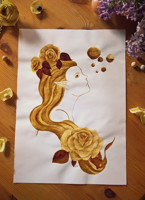 Kaffee Malerei Kunst Geschenk Elfe Goa Hippie Rose Fee