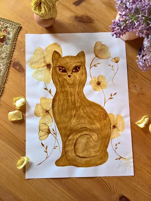 Kaffee Kunst Malerei Katze Tier Geschenk