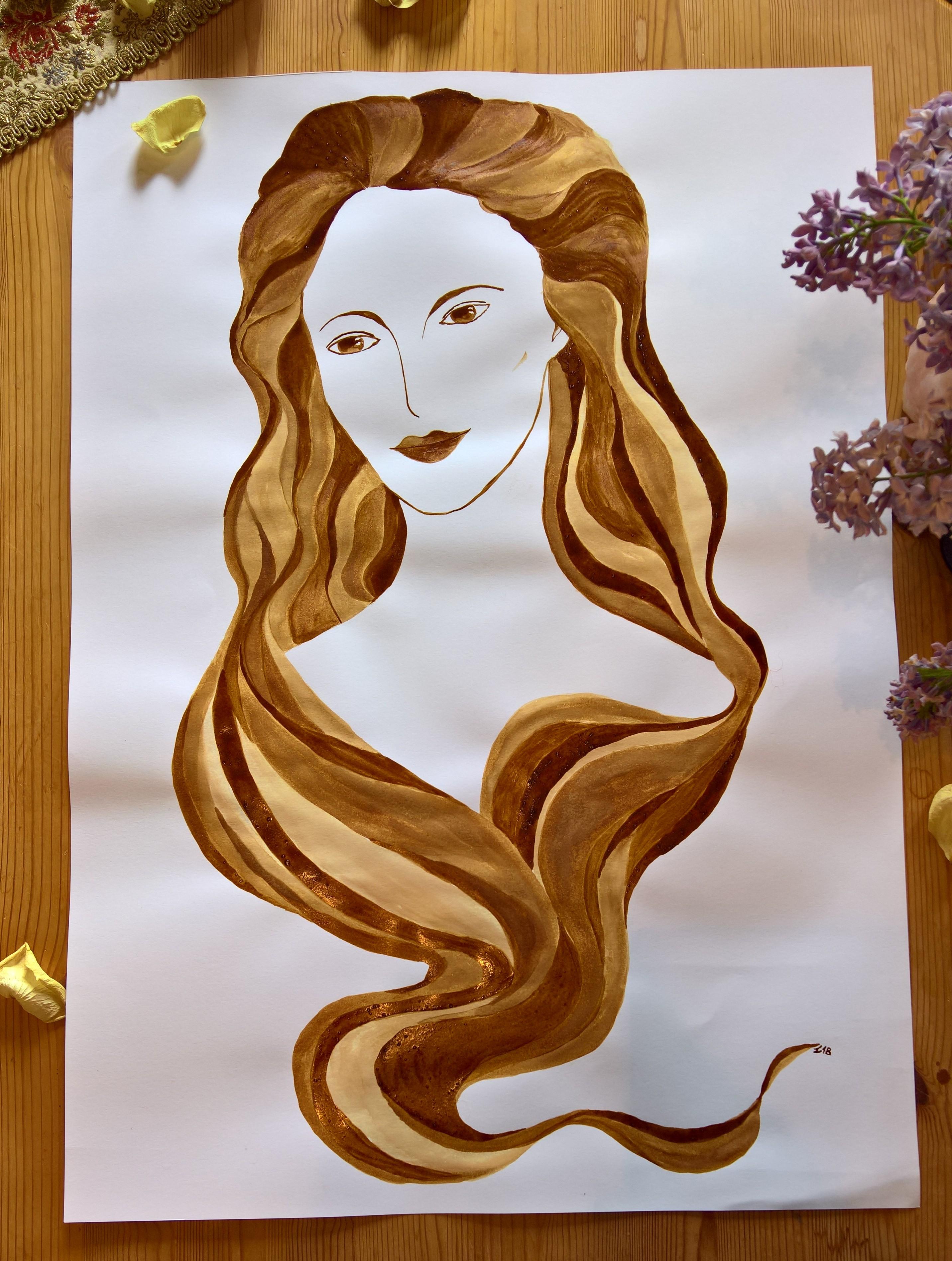 Kaffee Malerei Kunst Geschenk Madonna Portrait Frau